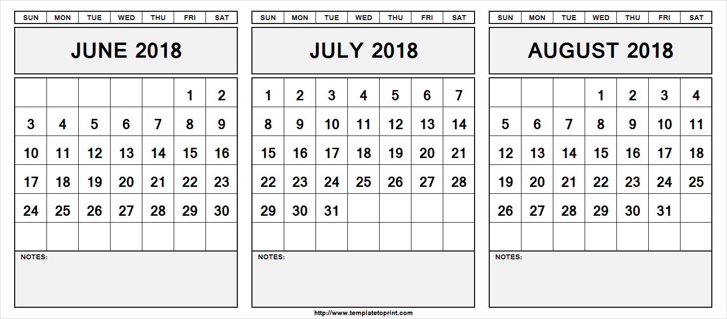 Printable June July August 2018 Calendar Template | 3 Month