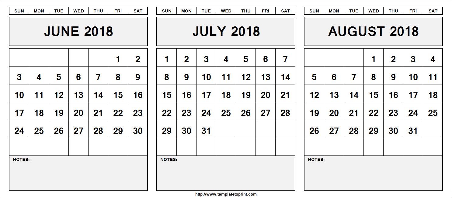 Printable June July August 2018 Calendar Template | 3 Month