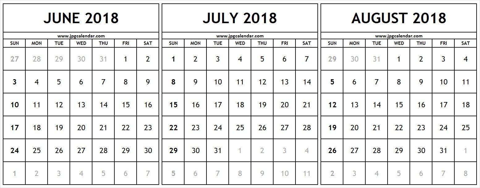 Printable June July August 2018 Calendar Template Excel | 31