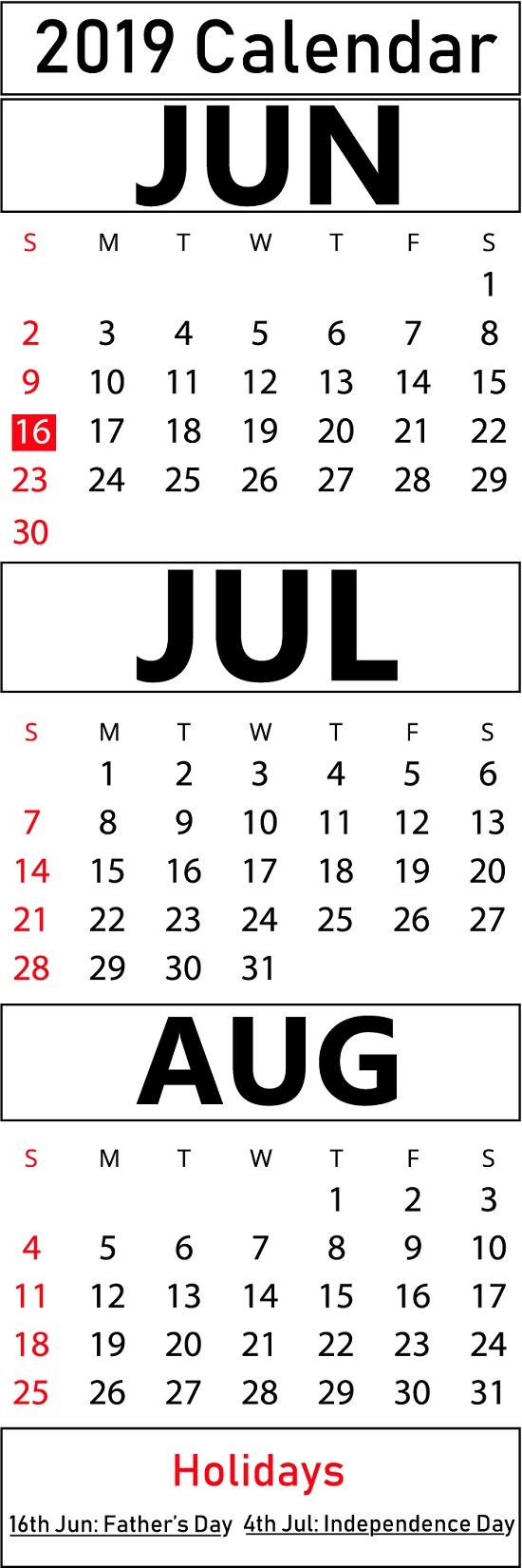 Printable June & July & August 2019 Calendar Templates