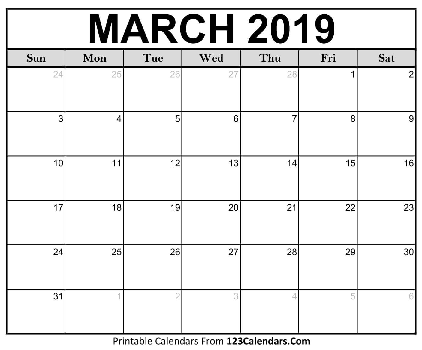 Printable March 2019 Calendar Pdf, Word, Excel Templates