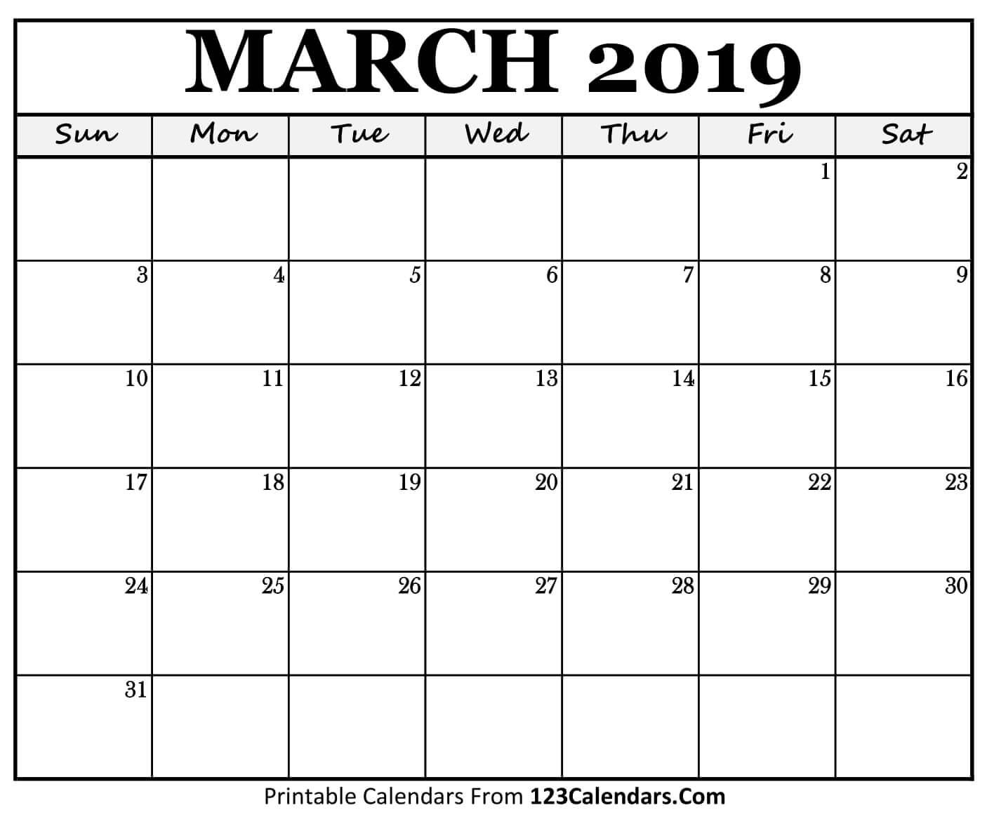 Printable March 2019 Calendar Templates 123Calendars | Isacl