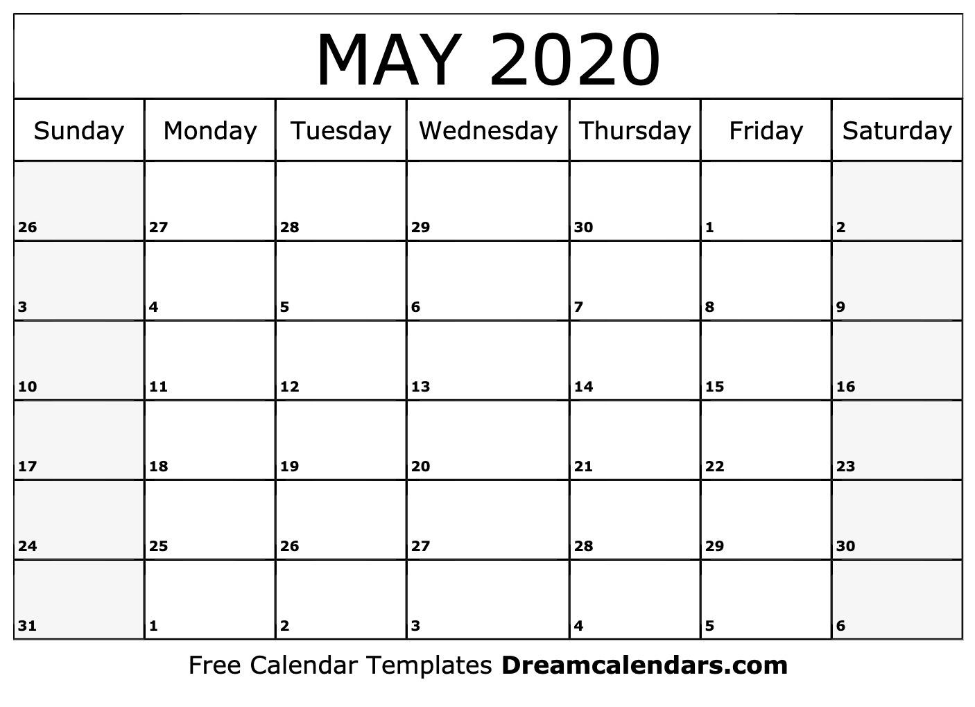 Printable May 2020 Calendar
