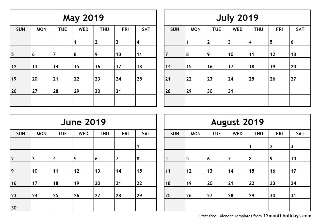 Printable May June July 2019 Calendar | 2019 Calendar