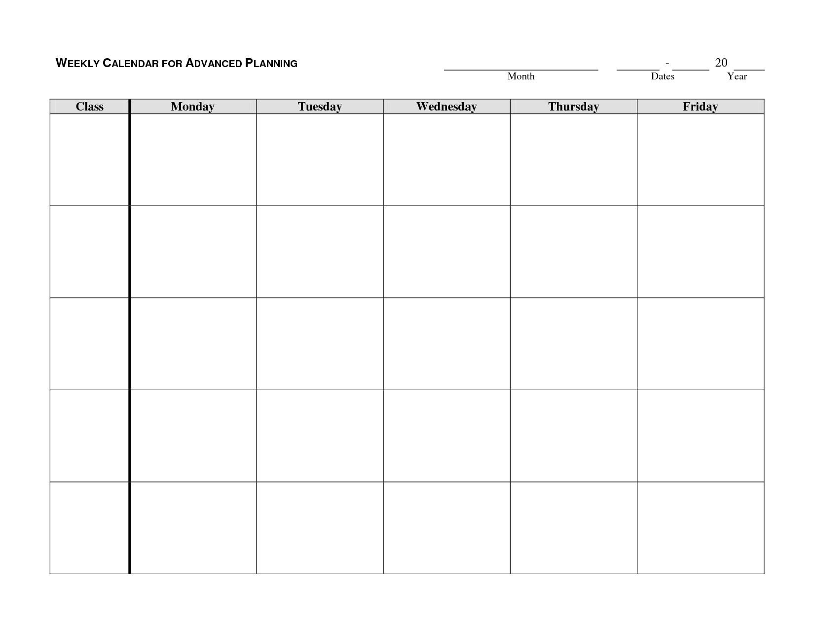 Printable Monday Through Friday Calendar | Hauck Mansion