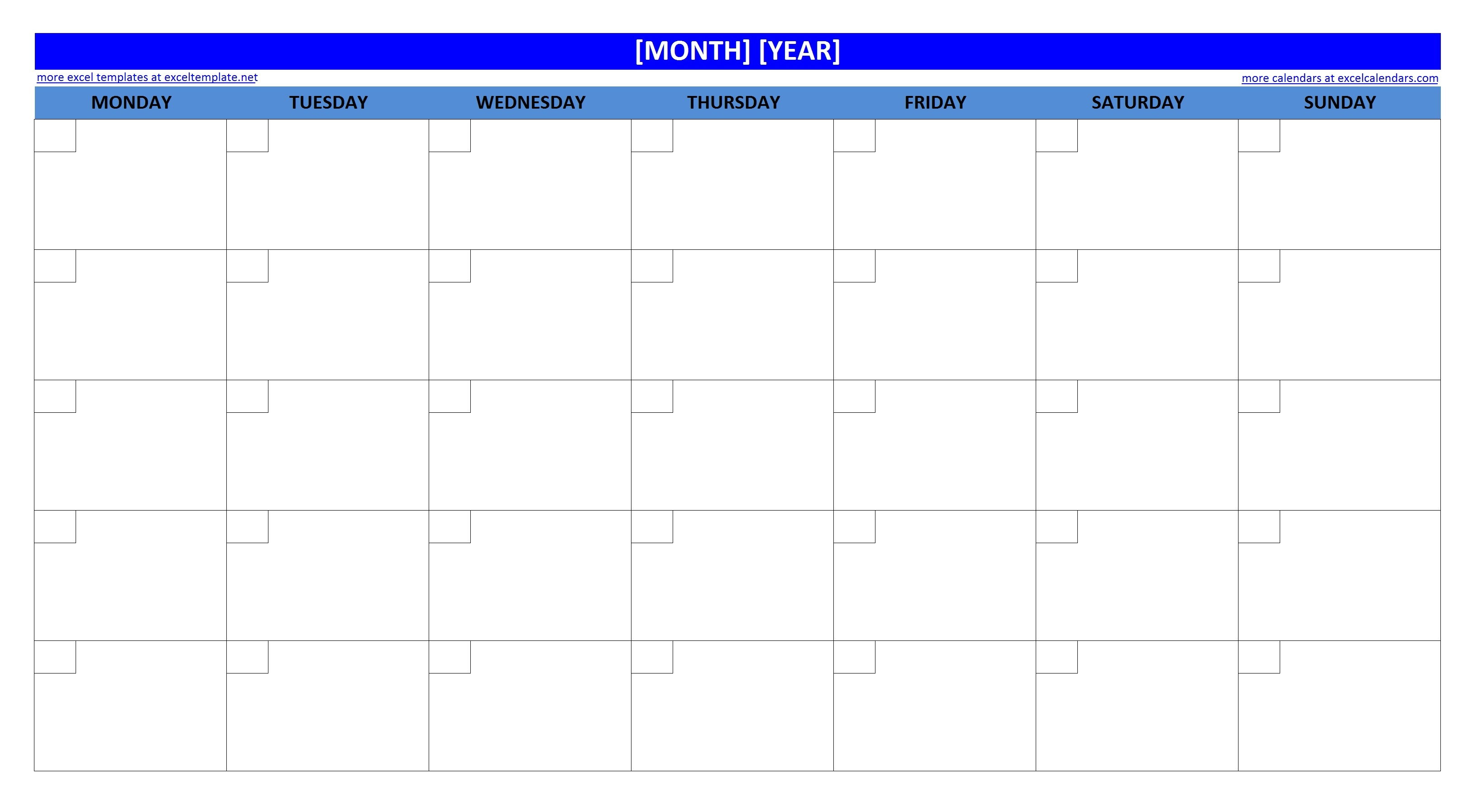 Printable Monthly 2018 Calendar Large Box Grid At