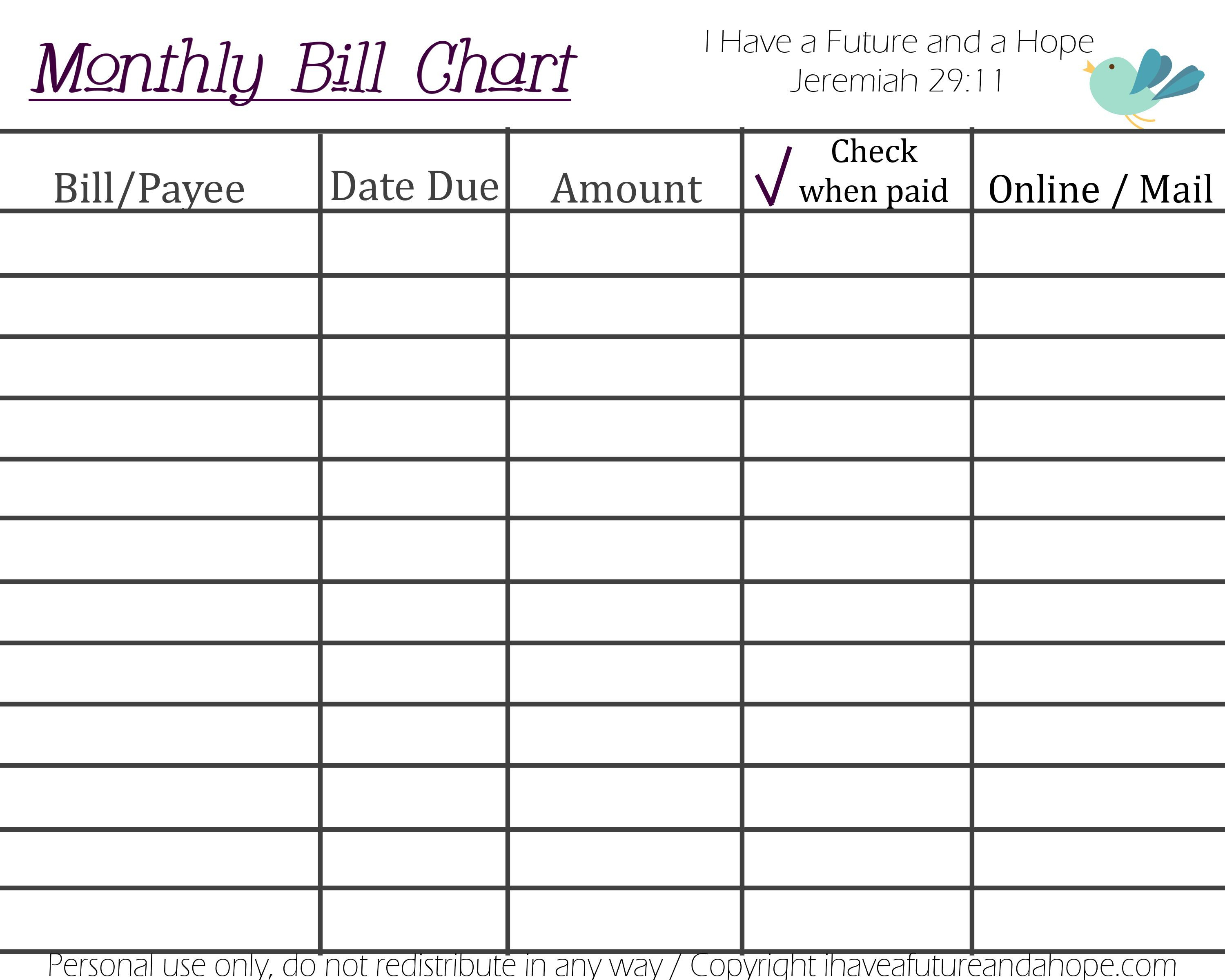 Printable Monthly Bill Chart | Budgeting Ideas | Bill