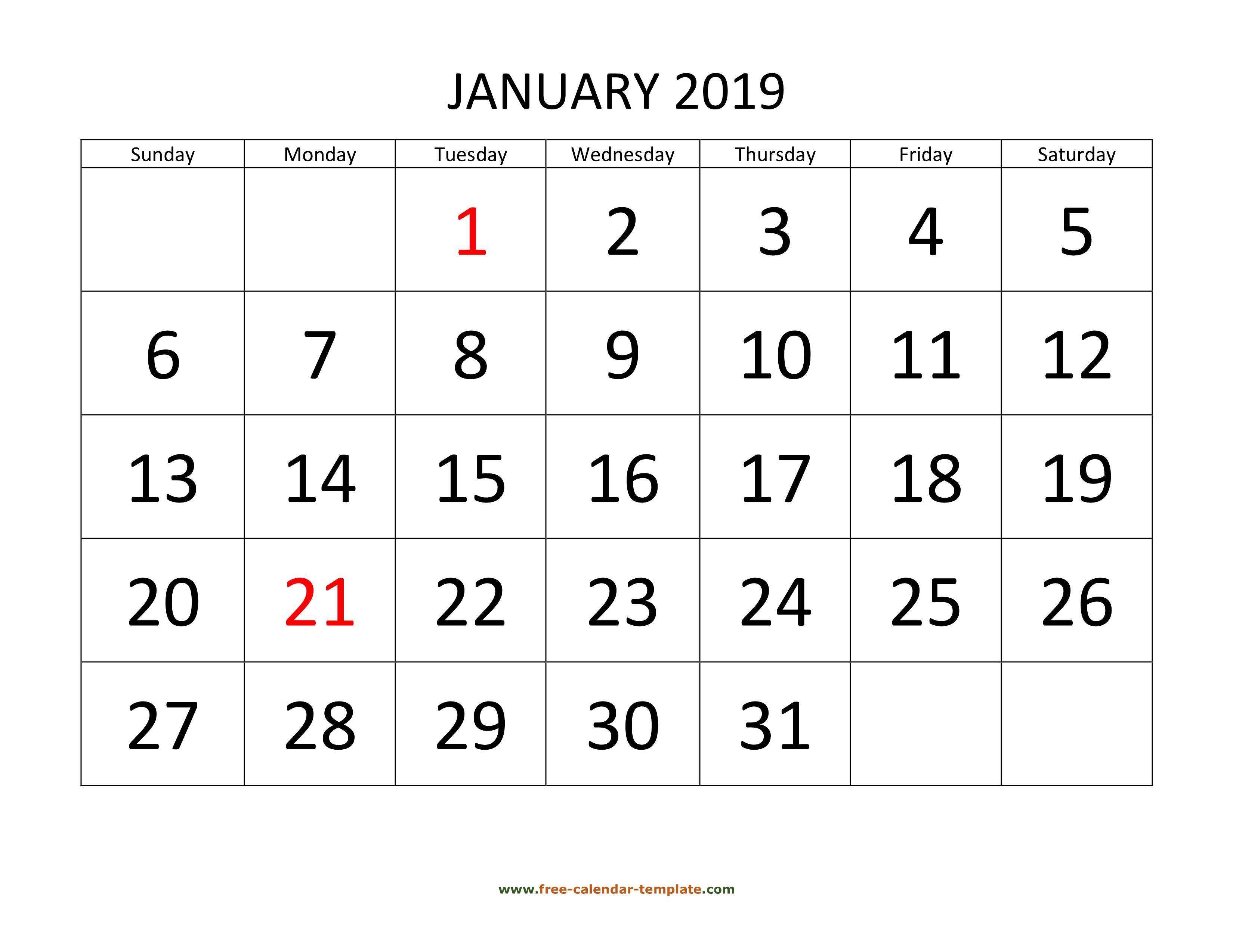 Printable Monthly Calendar 2019 | Free-Calendar-Template