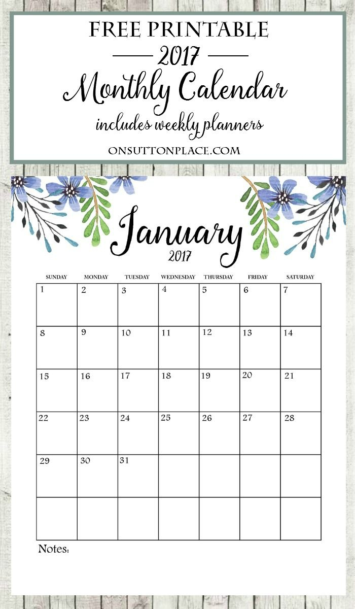 Printable Monthly Calendar | Bloggers' Best Diy Ideas | Free