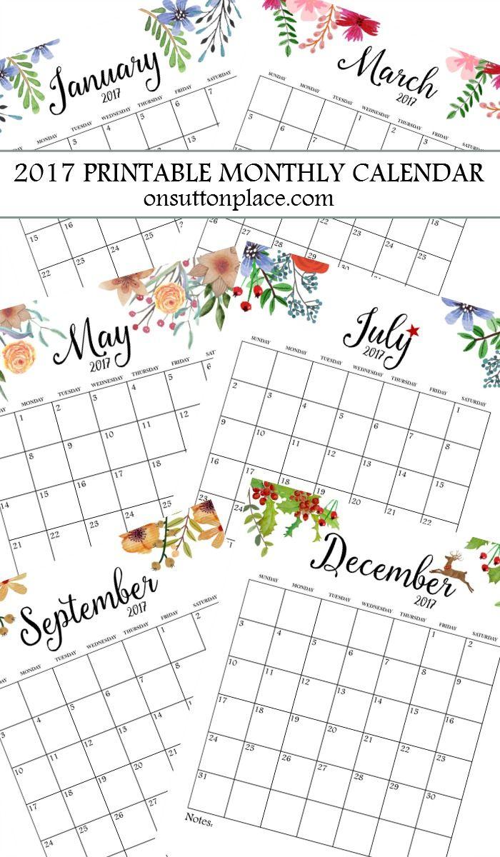 Printable Monthly Calendar | Bloggers' Best Diy Ideas | Free