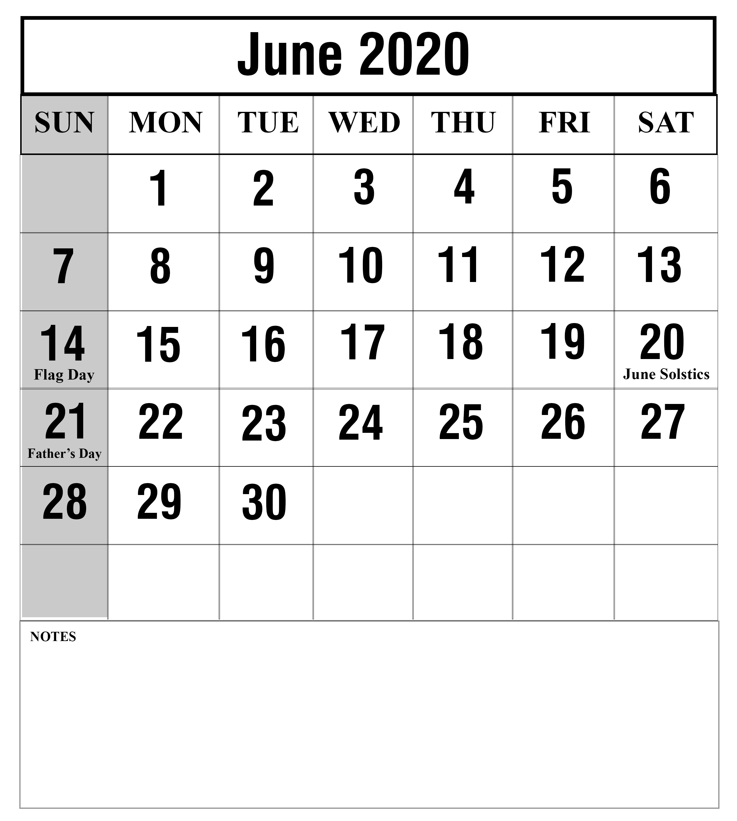 Printable Monthly Calendar July 2019 To June 2020 - 2019
