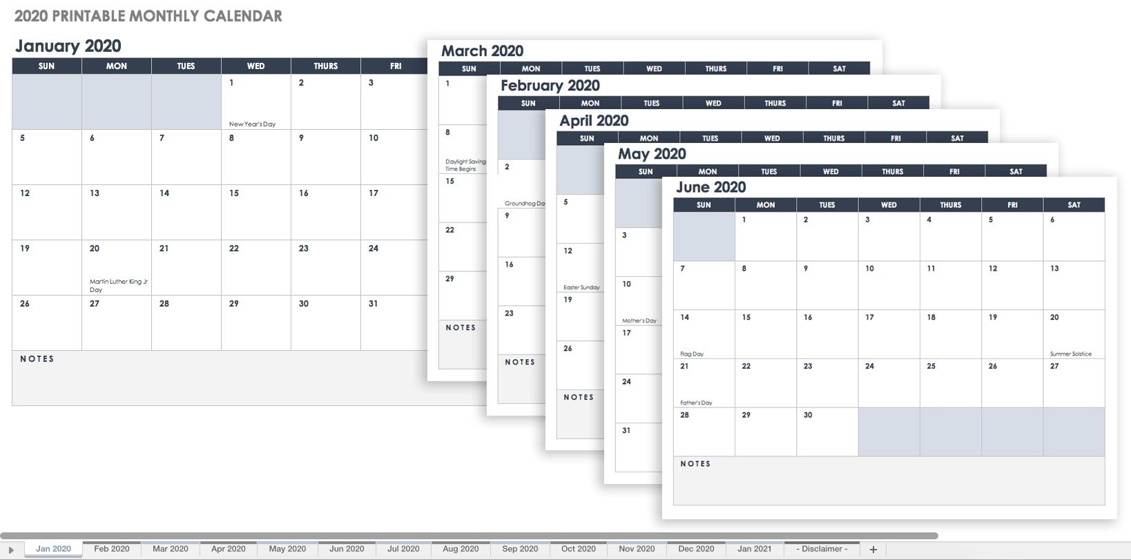 Printable Monthly Calendar Planner Template | Calendar