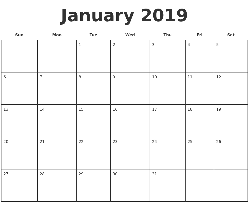 Printable Monthly Calendar Template 2019 | Isacl