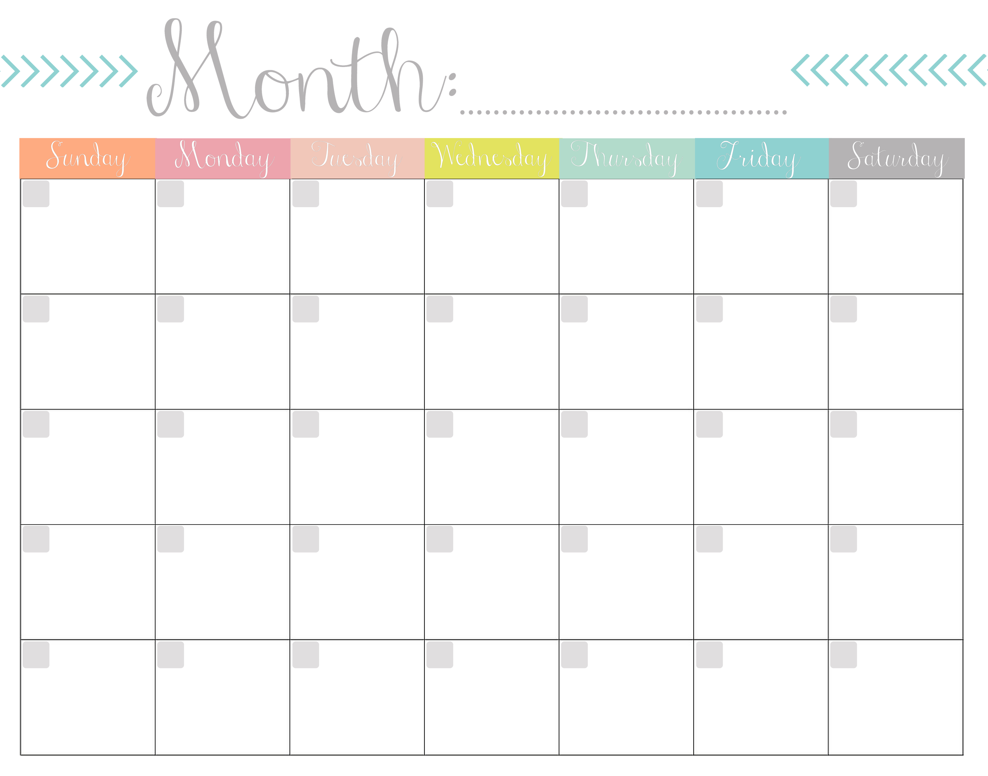 Printable Monthly Calender | Room Surf