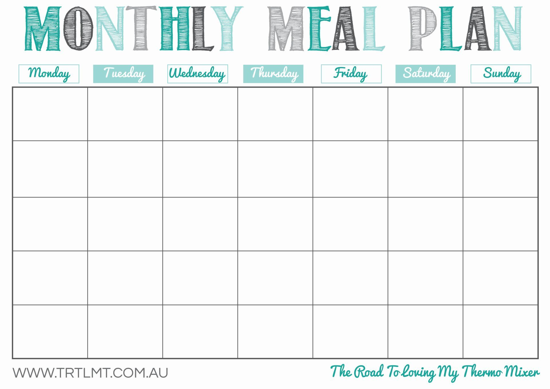 Printable Monthly Meal Planner | Organization In 2019 | Meal