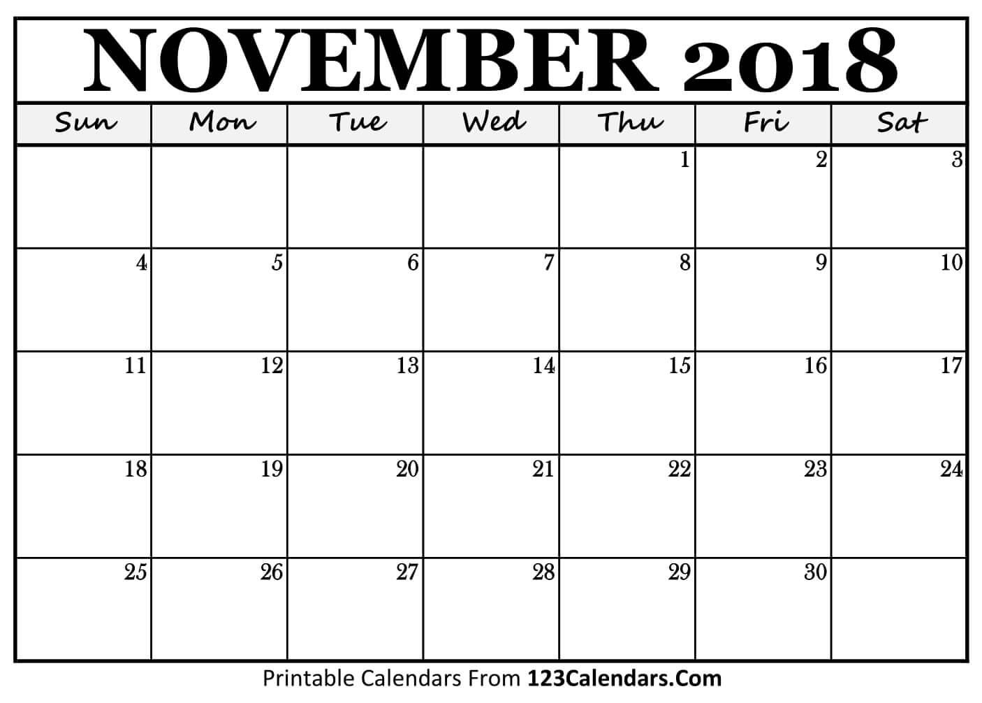 Printable November 2018 Calendar Templates 123Calendars | Isacl