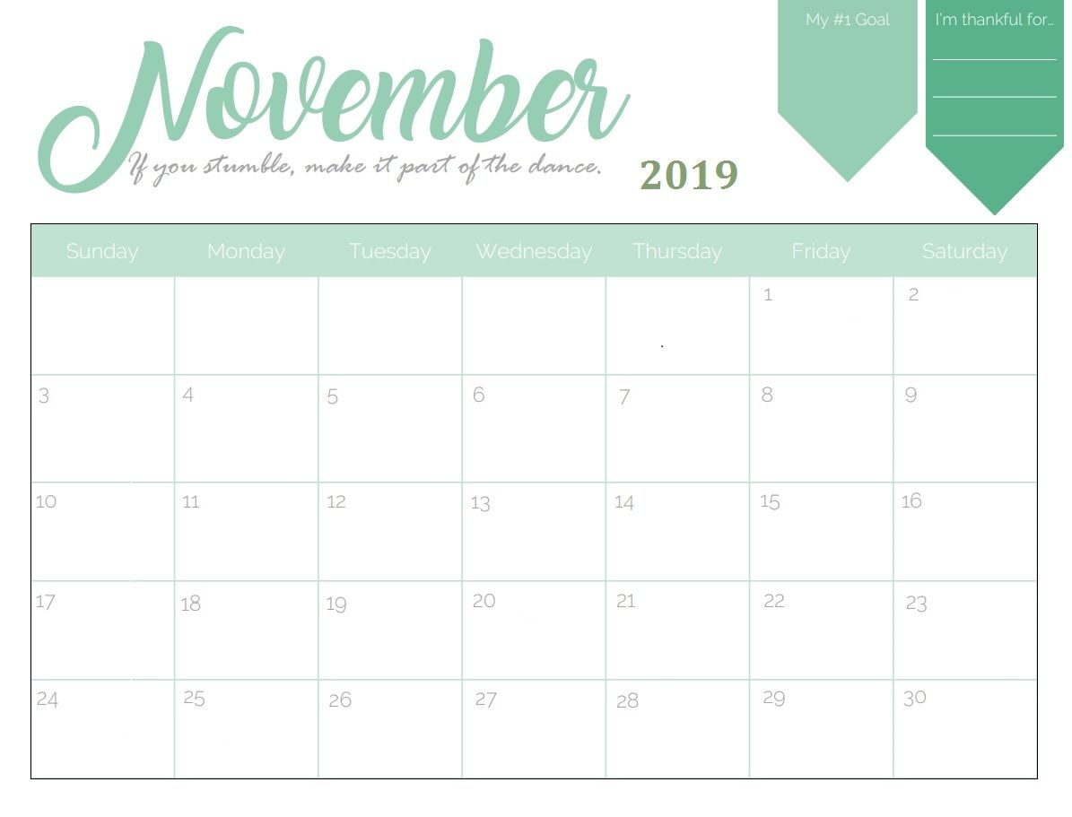 Printable November 2019 Goal Planner Calendar | Calendar