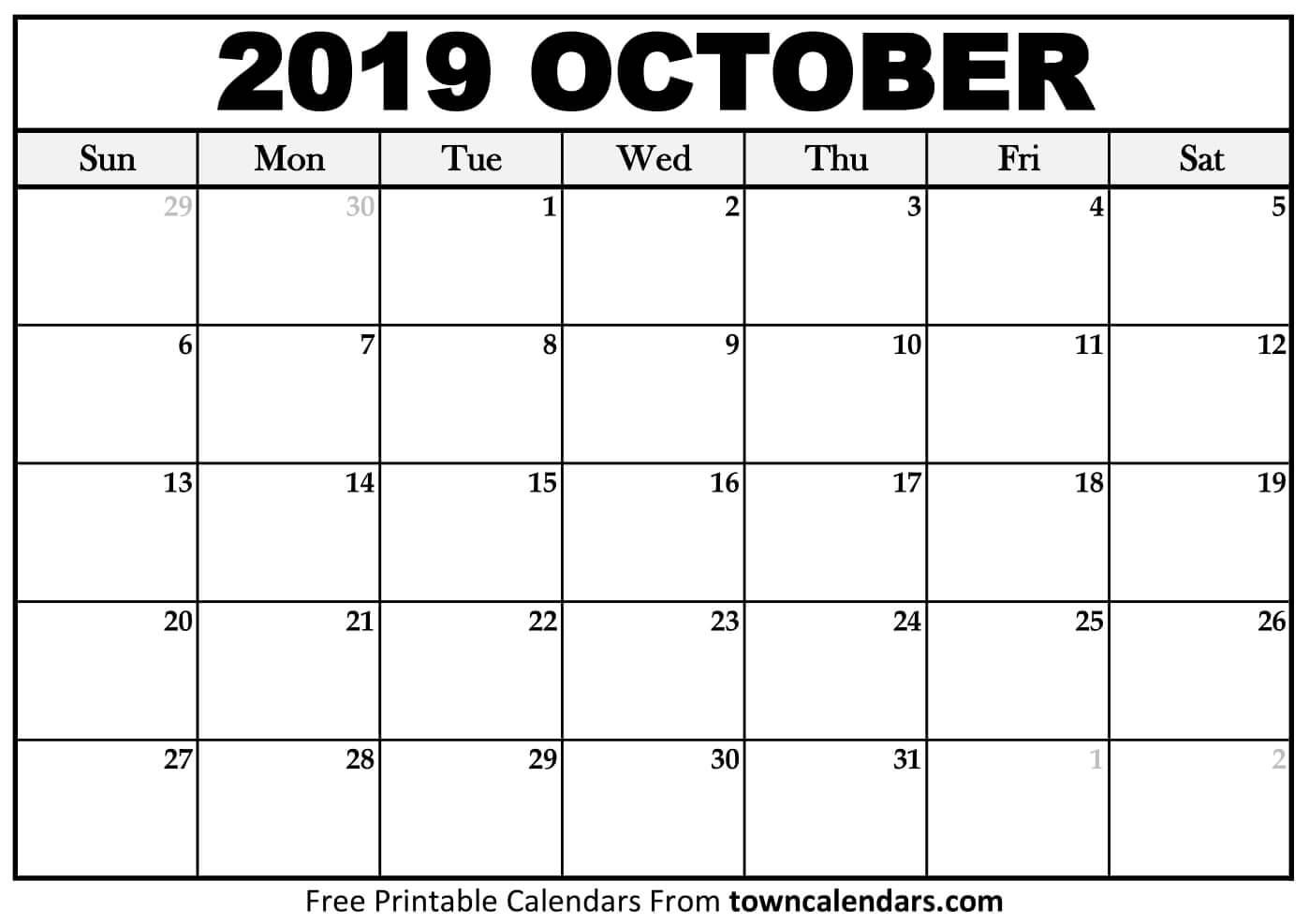 Printable October 2019 Calendar - Towncalendars