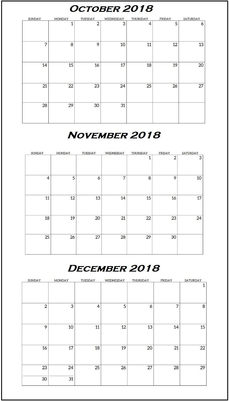 Printable Quarterly Calendar 2018 | Printable Calendar 2019