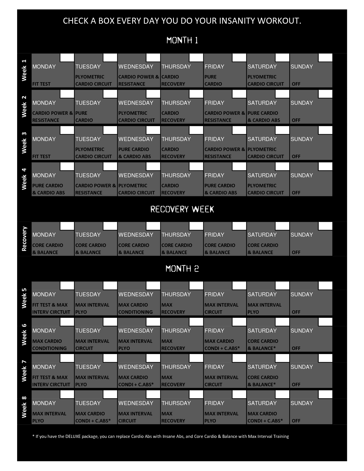 Printable Sample Insanity Workout Calendar Form | Workout