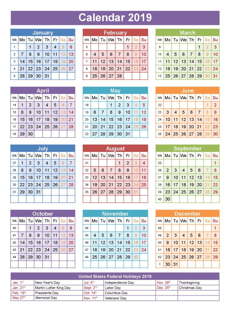 Printable School Calendar 2019 South Africa | Printable
