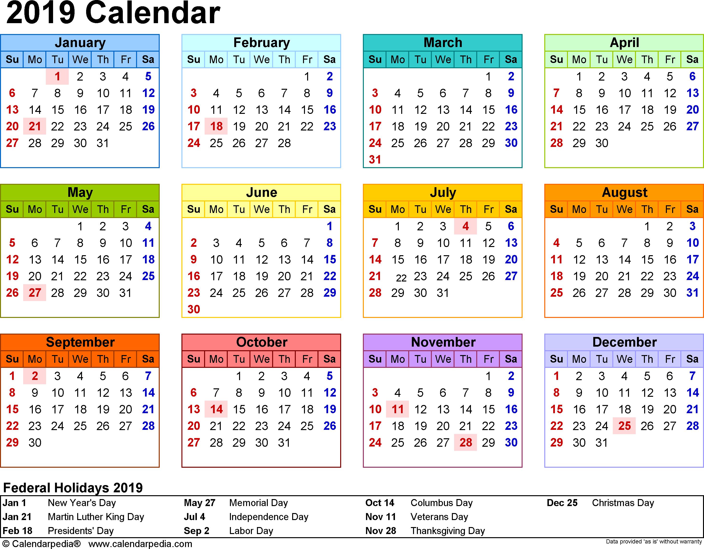 Printable School Calendar 2019 South Africa | Printable