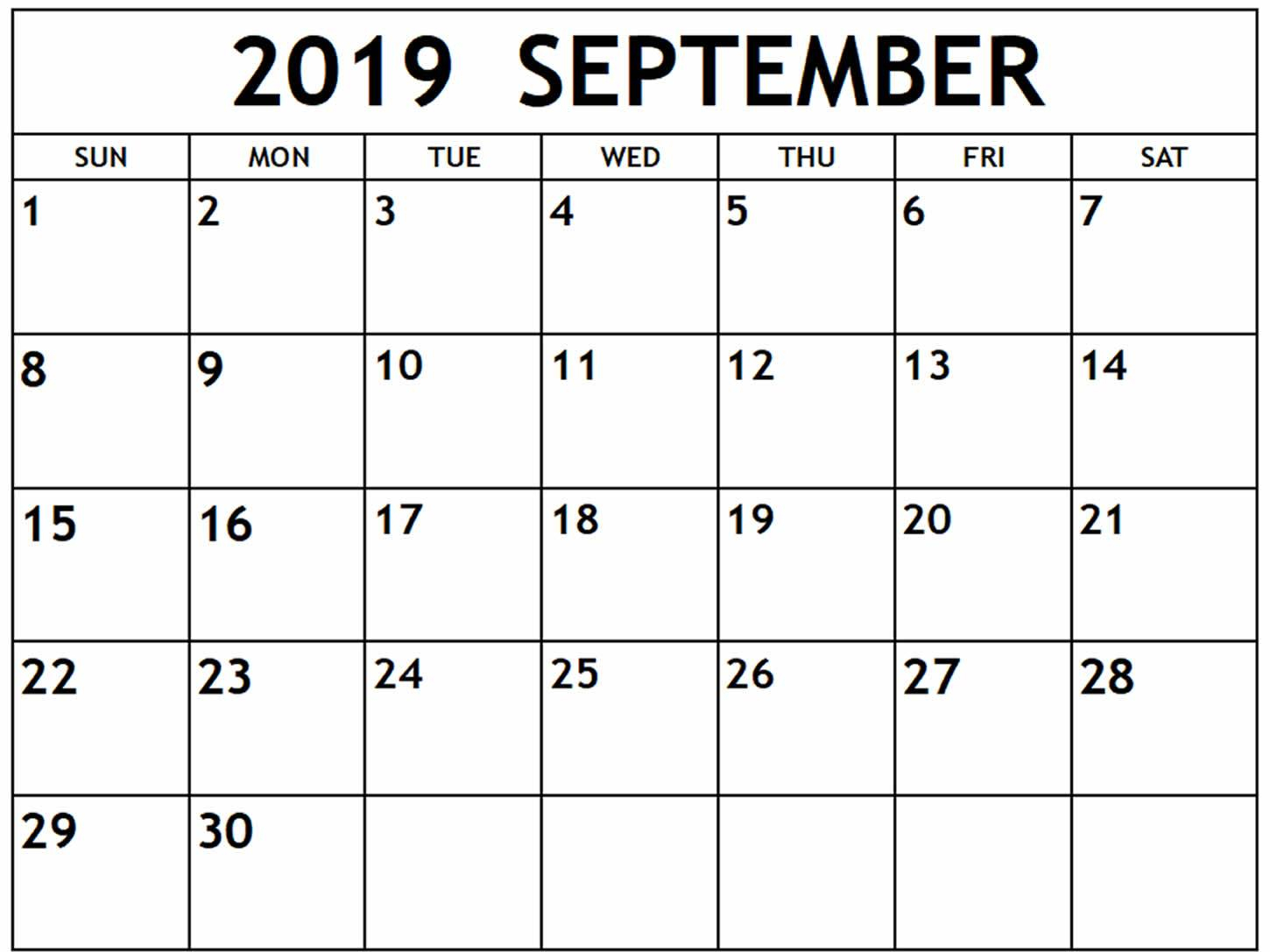 Printable September 2019 Calendar Pdf Free Template - July