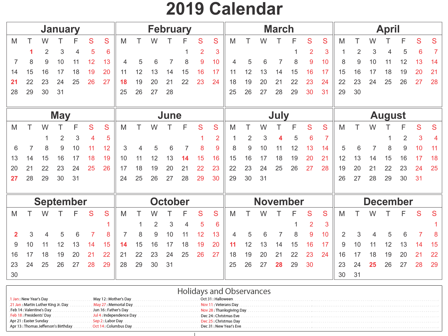 Printable South Africa 2019 Calendar #southafrica #calendar