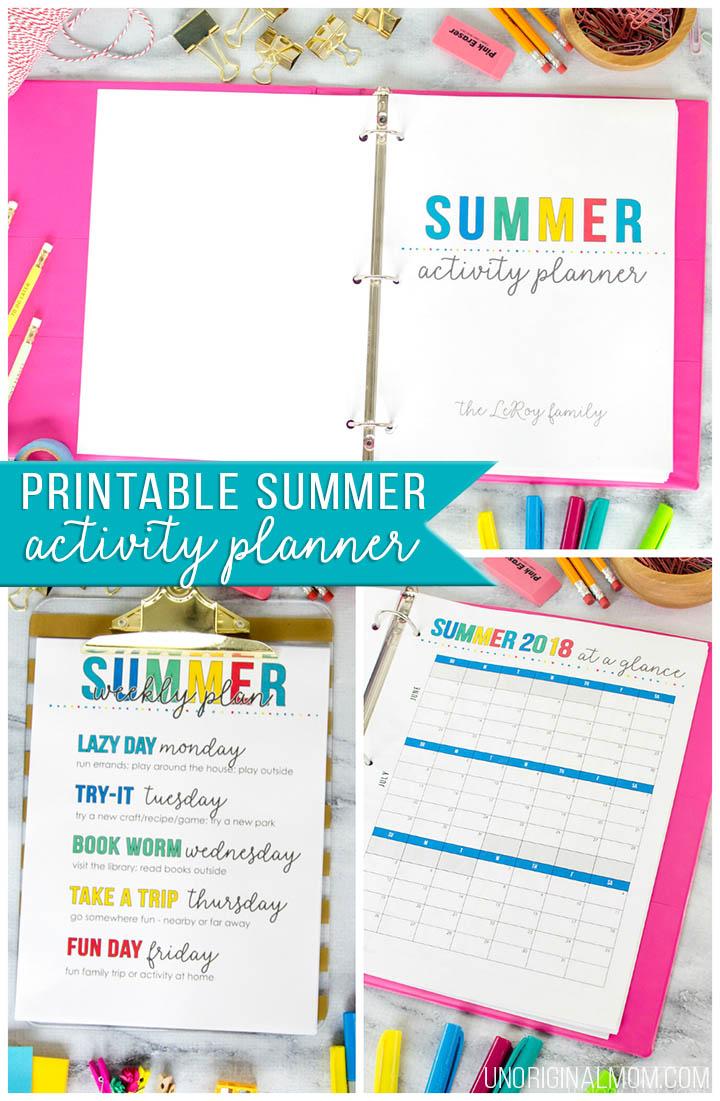 Printable Summer Planner + Free Summer Calendar - Unoriginal Mom