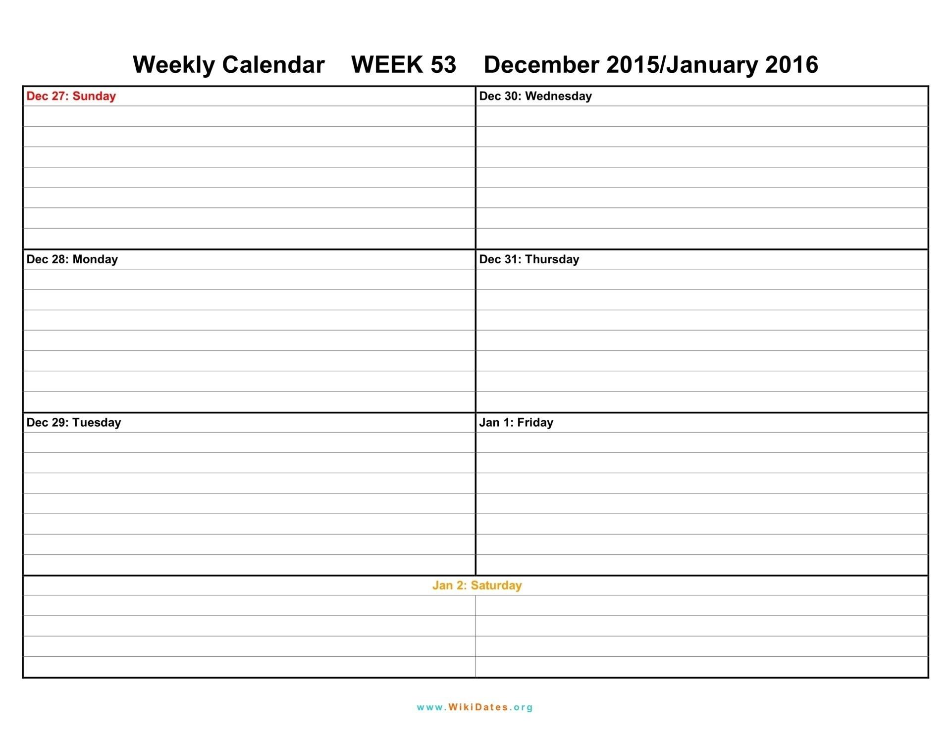 Printable Weekly Calendar Two Week Template Weeks Blank