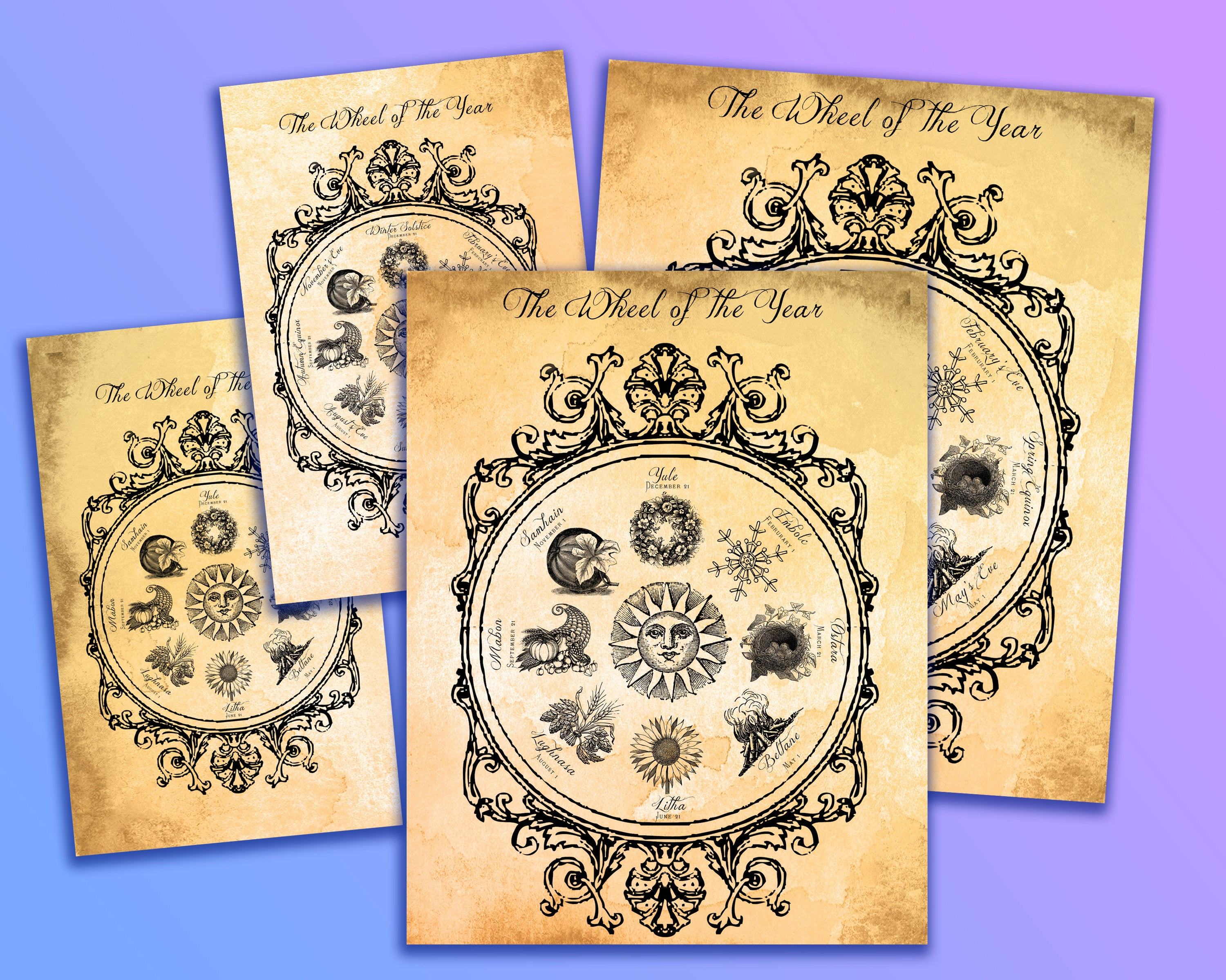 Printable Wheel Of The Year Circular Sun Calander Handcrafted Aged  Parchment Bos Book Of Shadows Page