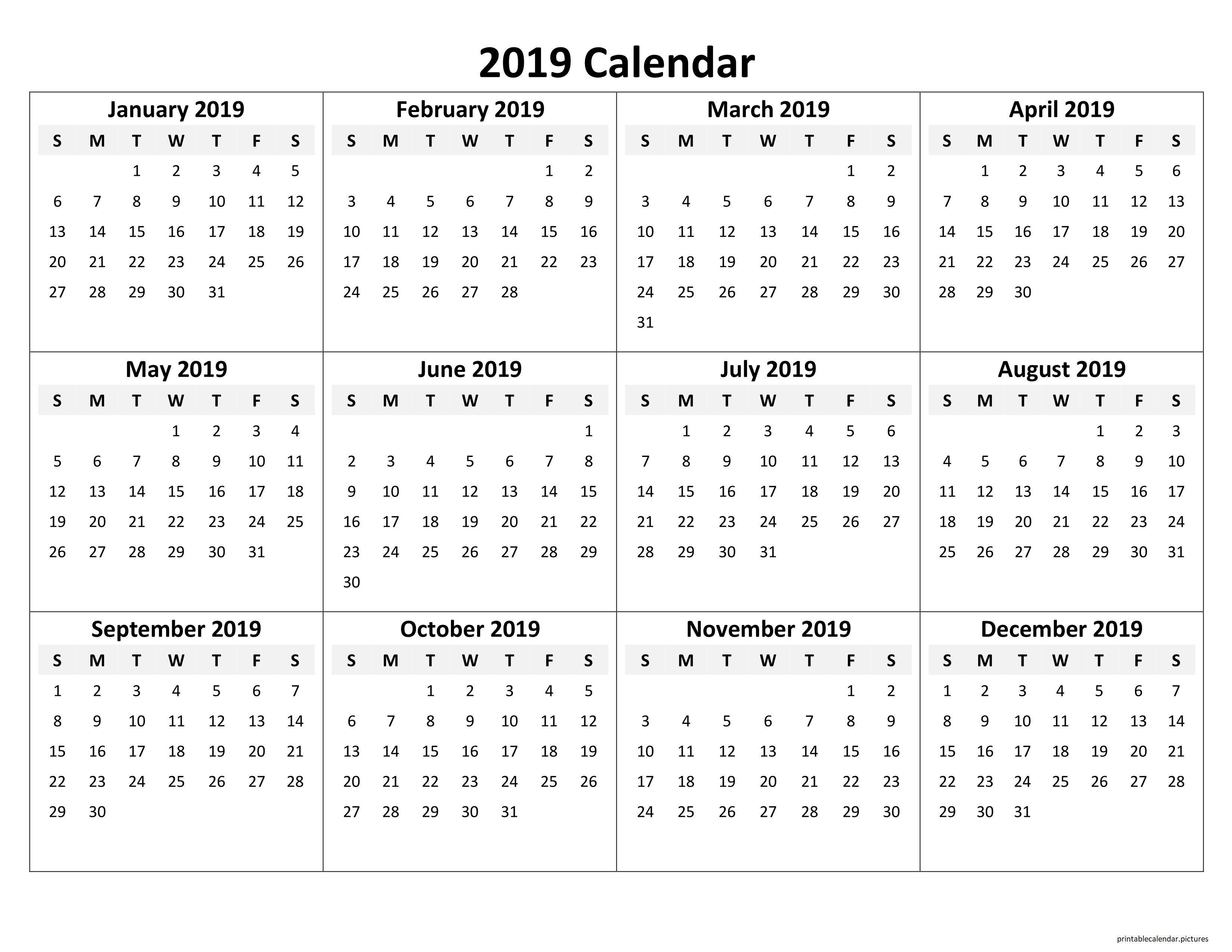 Printable Yearly Calendar 2019 | Printable Calendar 2019