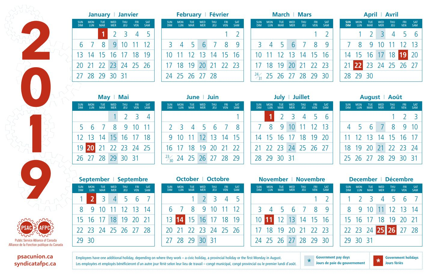 Psac Calendars | Public Service Alliance Of Canada