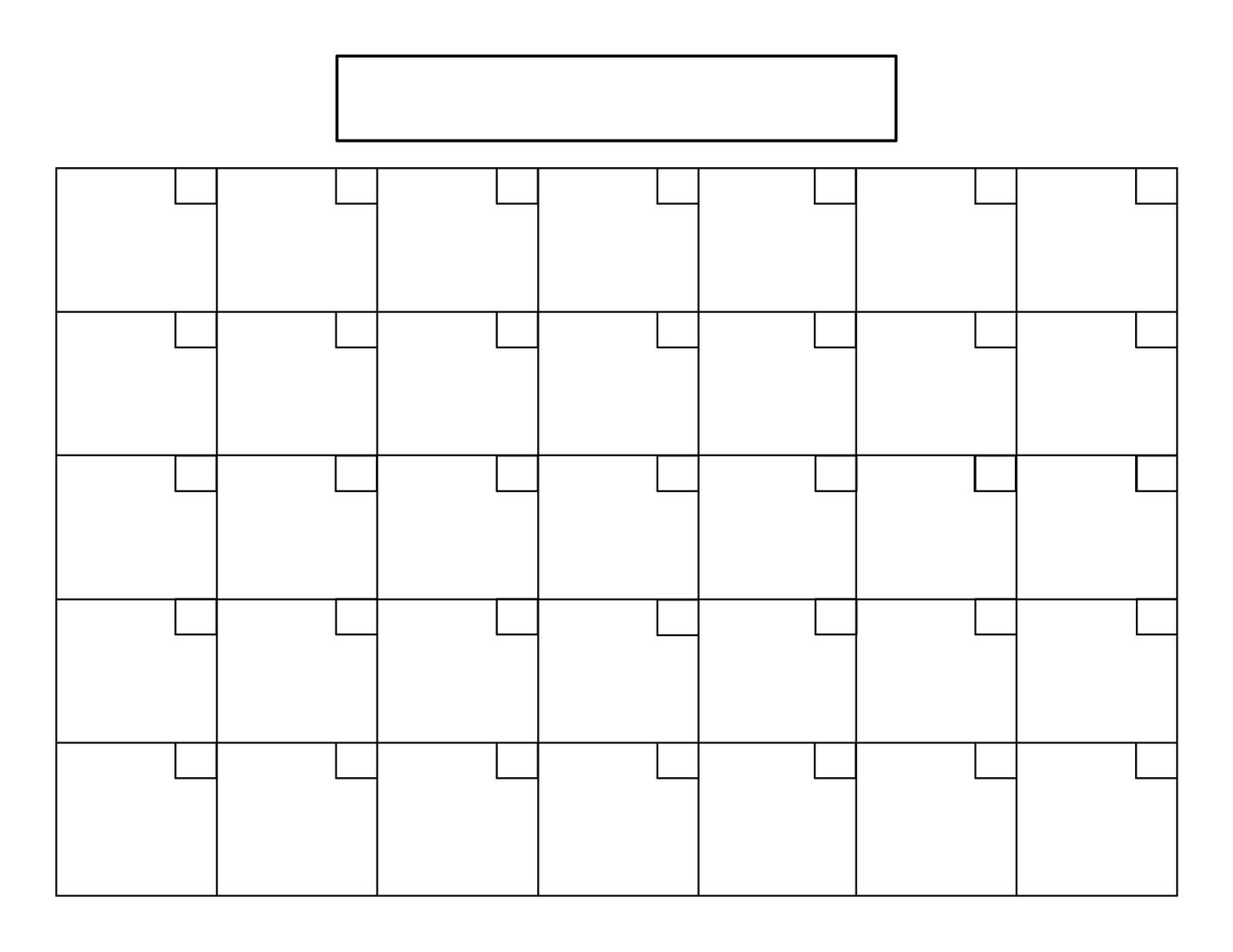 Remarkable Blank Calendar 31 Days • Printable Blank Calendar