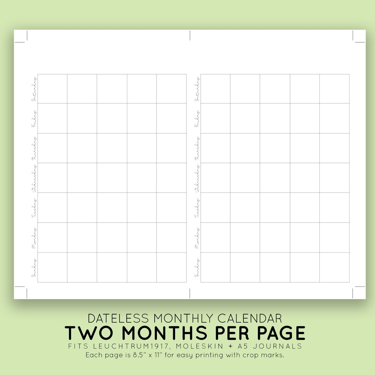 Remarkable Blank Calendar Without Dates • Printable Blank
