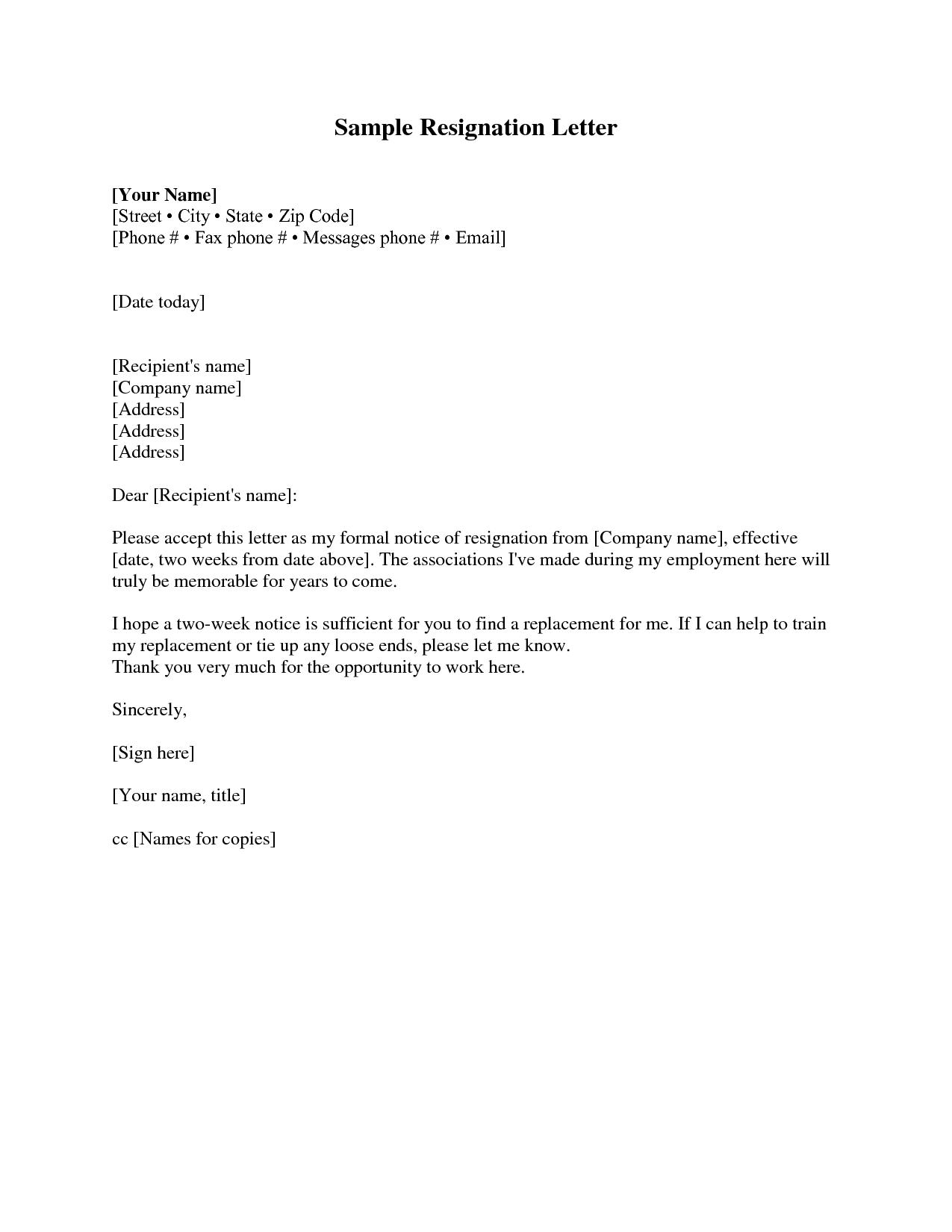 Resignation Letter 2 Weeks Notice Resignation Letter