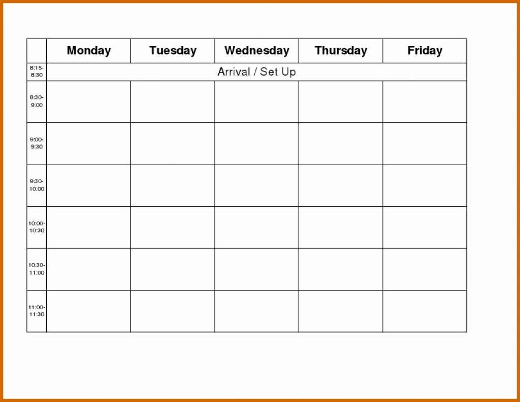 Schedule Plate Monday Through Friday Weekly Calendar Word