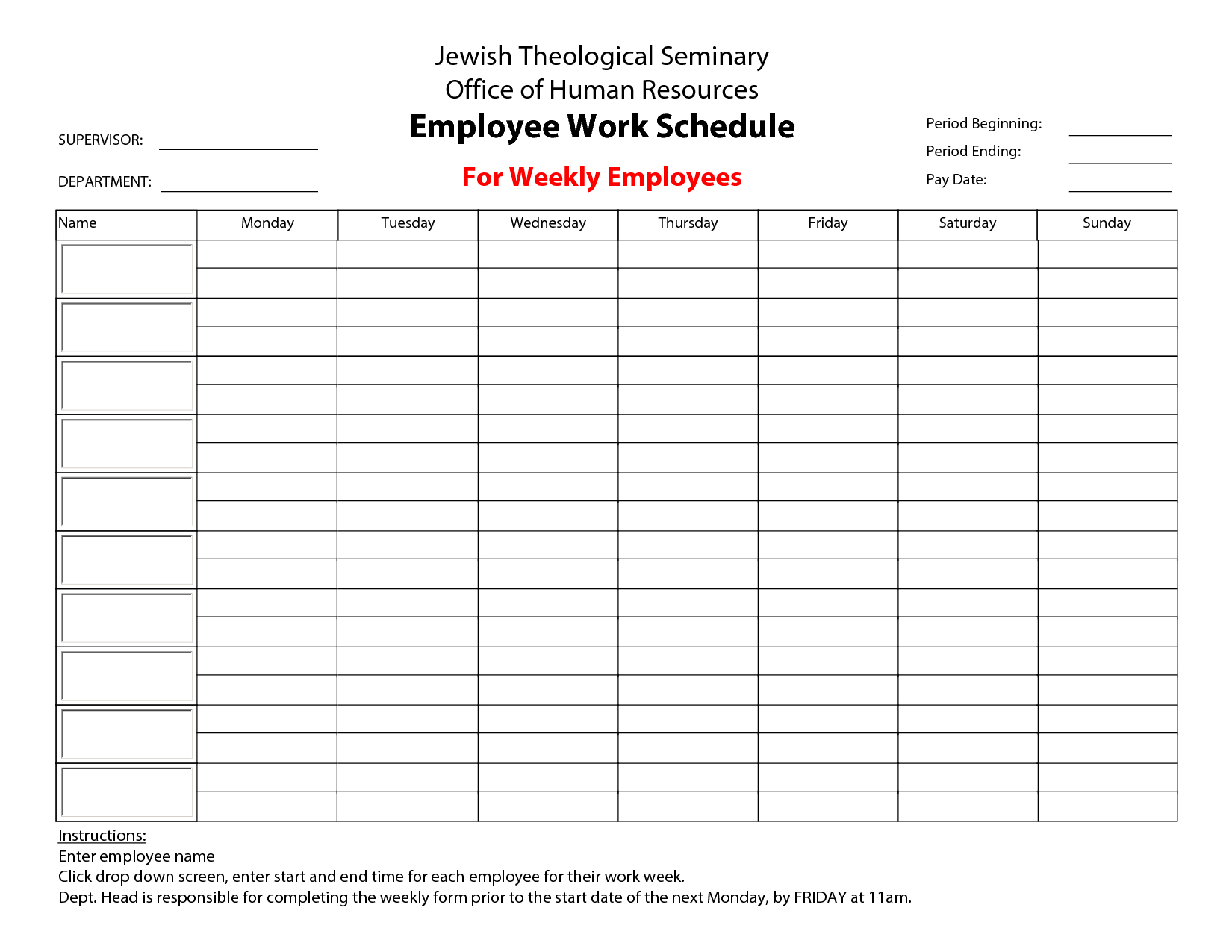 Schedule Template Free Work Maker Printable Employee Papers
