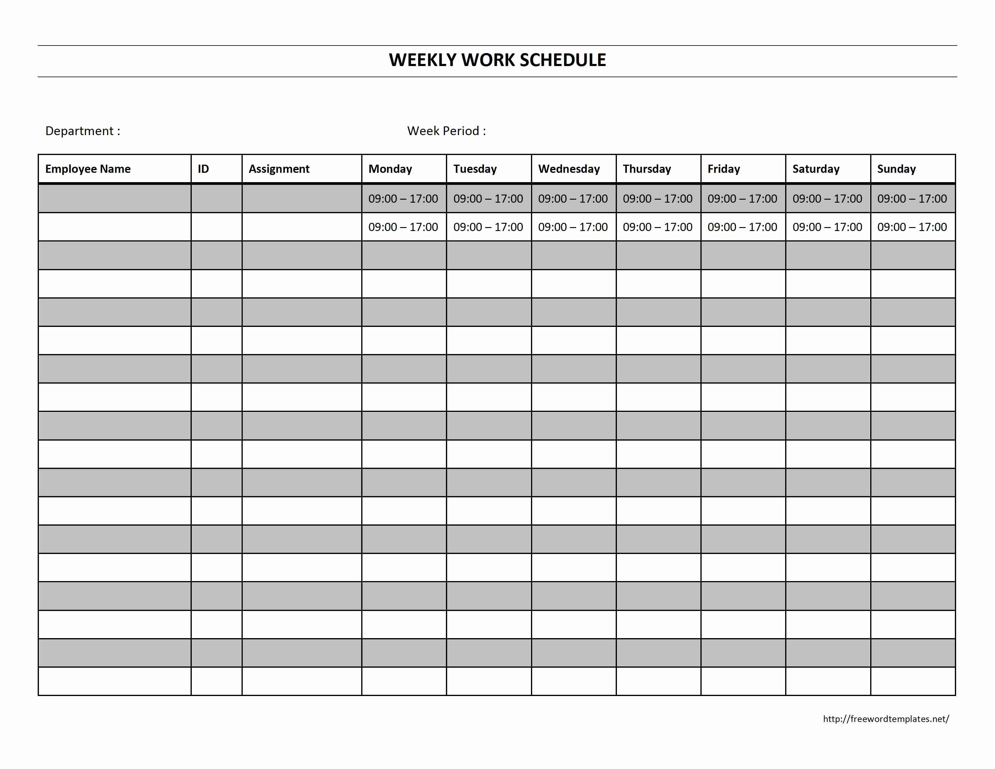 Schedule Template Monthly Work Ar Employee Scheduling | Smorad