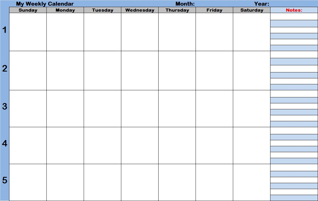 Schedule Template Weekly Calendar With Times Monthly Time