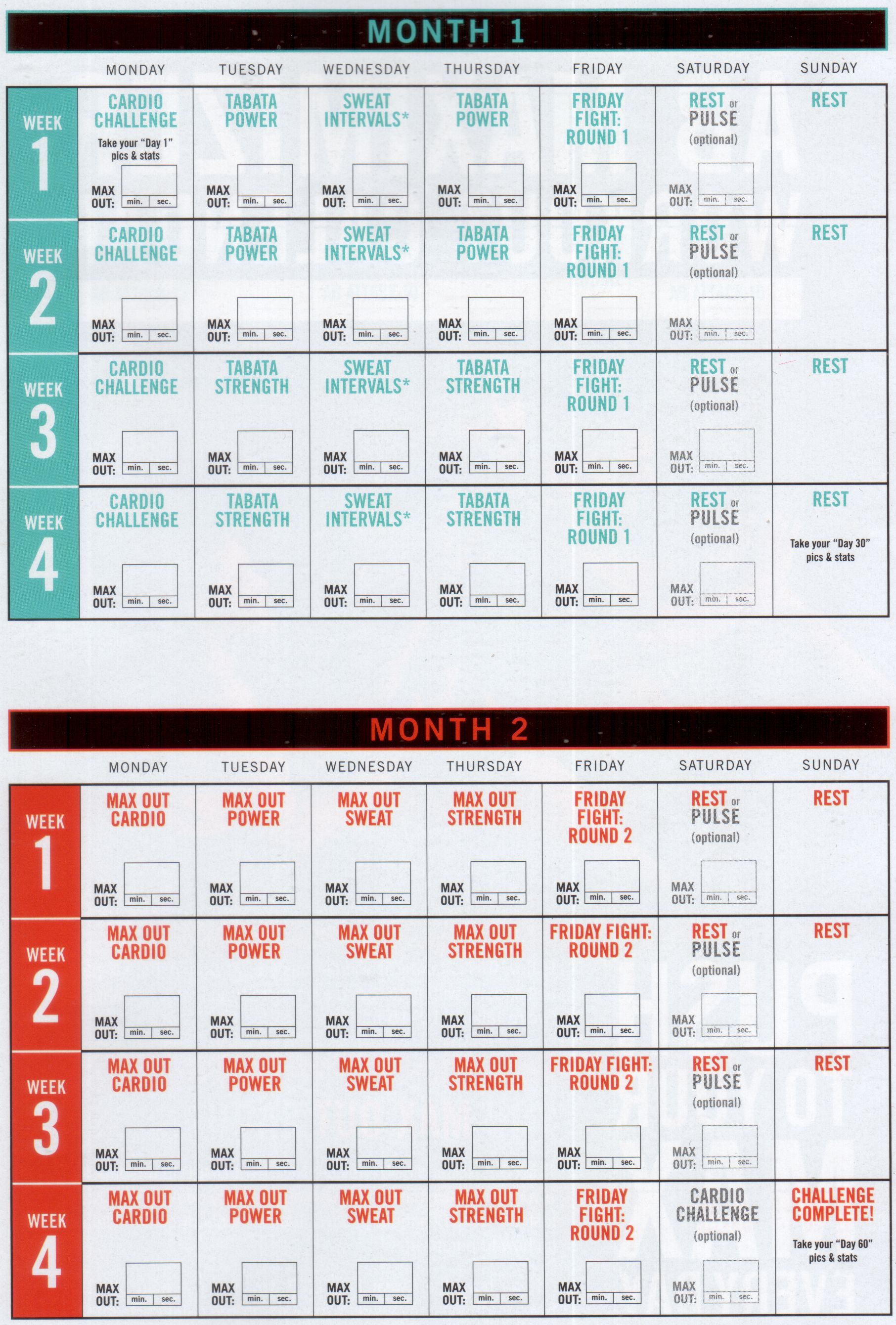 Schedule | Work It Out! | Insanity Max 30, Insanity Workout