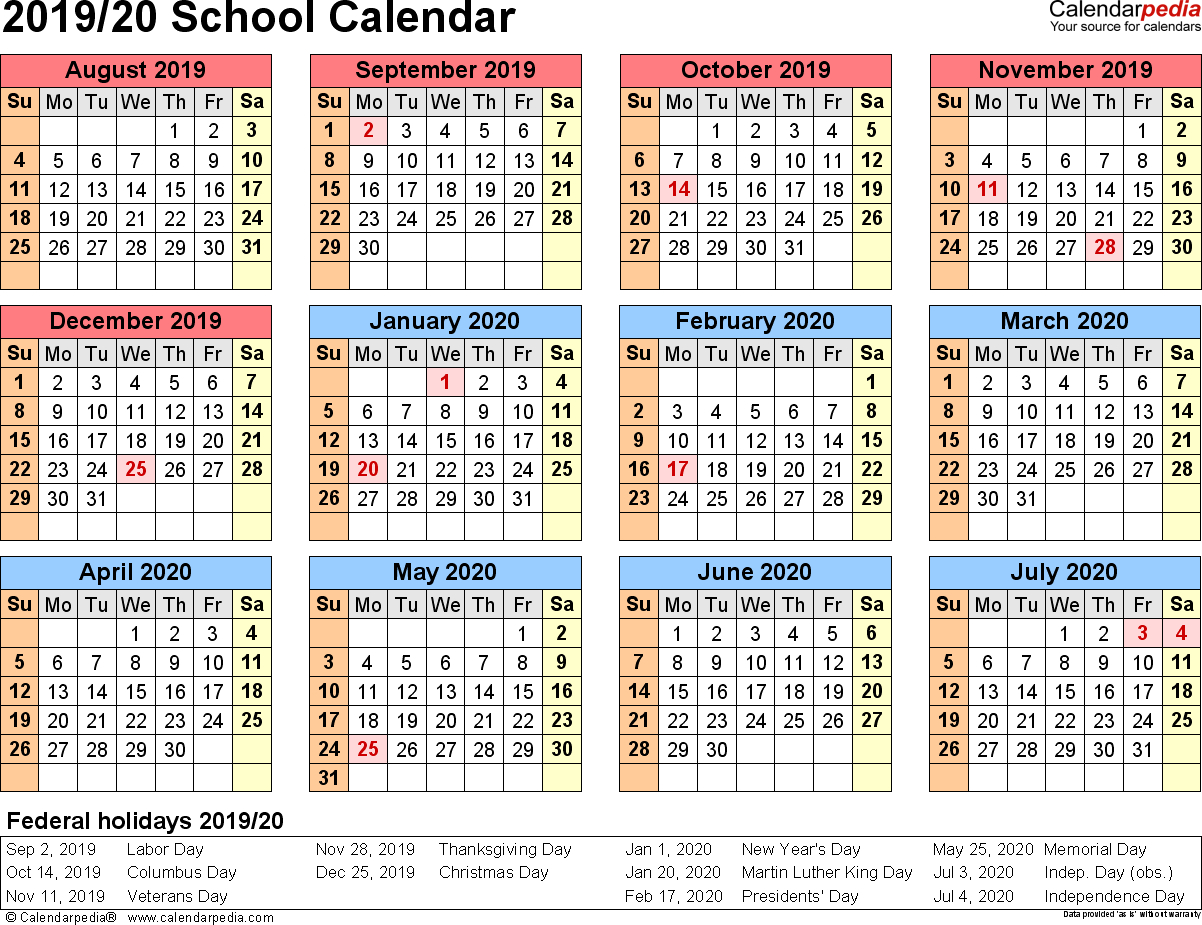 School Calendars 2019/2020 As Free Printable Pdf Templates
