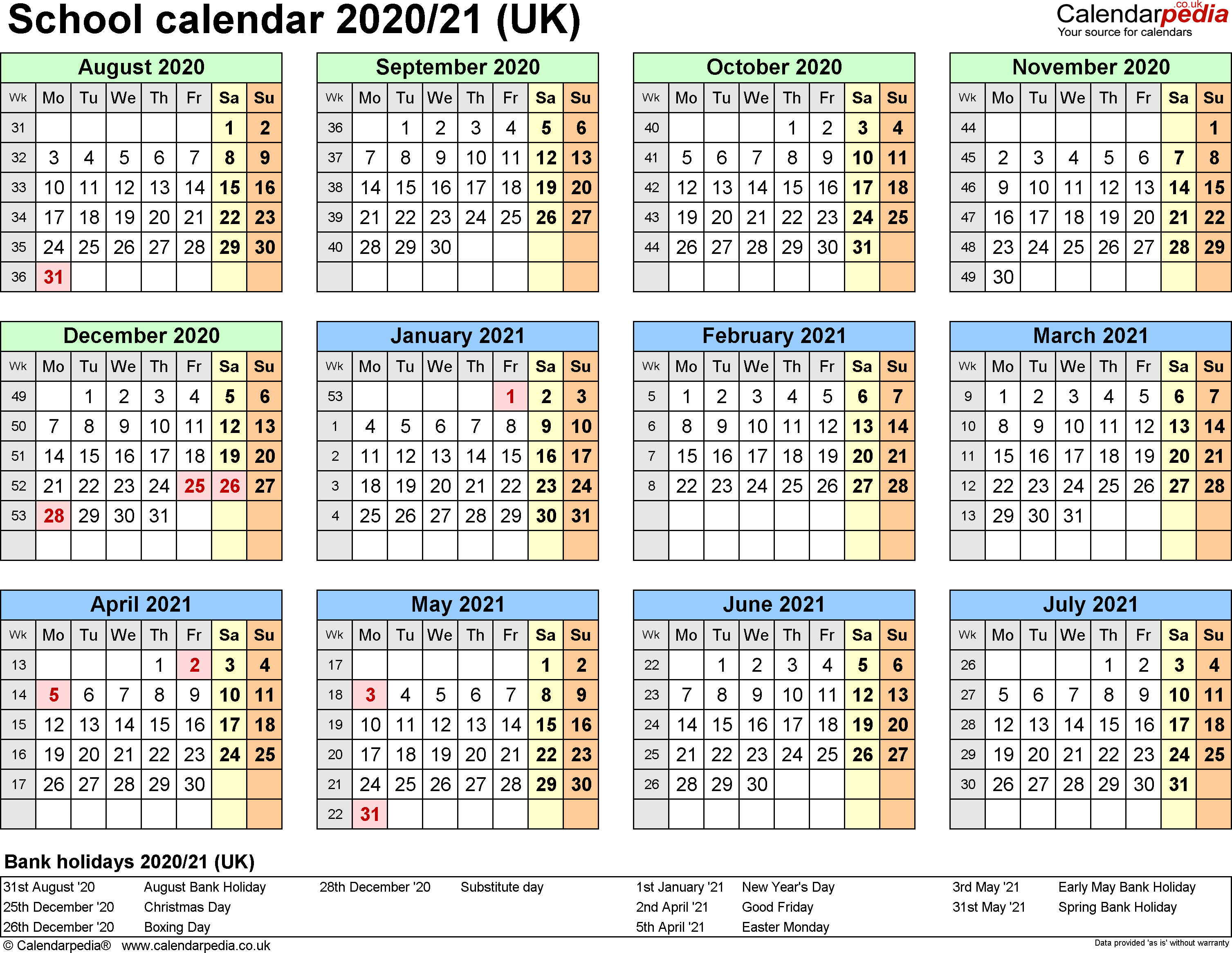 School Calendars 2020/2021 As Free Printable Excel Templates