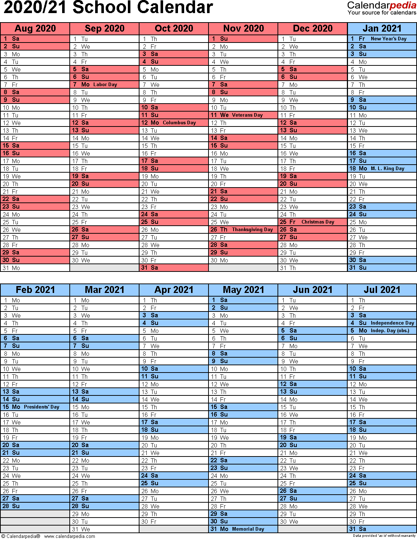 School Calendars 2020/2021 As Free Printable Word Templates