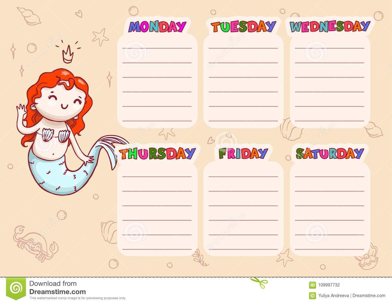 School Schedule With Days Of Week For Children Vector