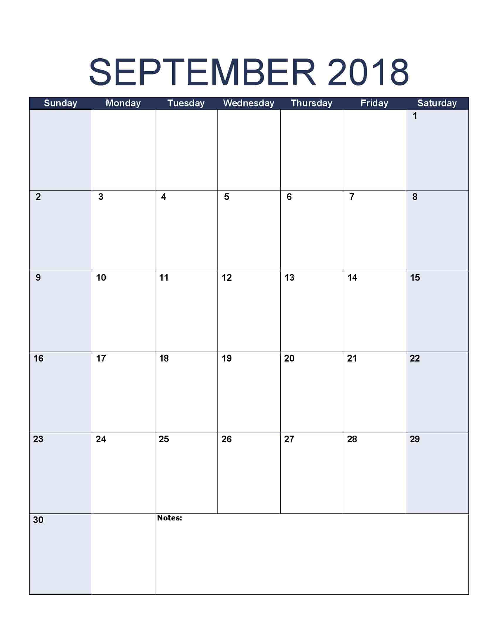 September 2018 Calendar - Free, Printable Calendar Templates