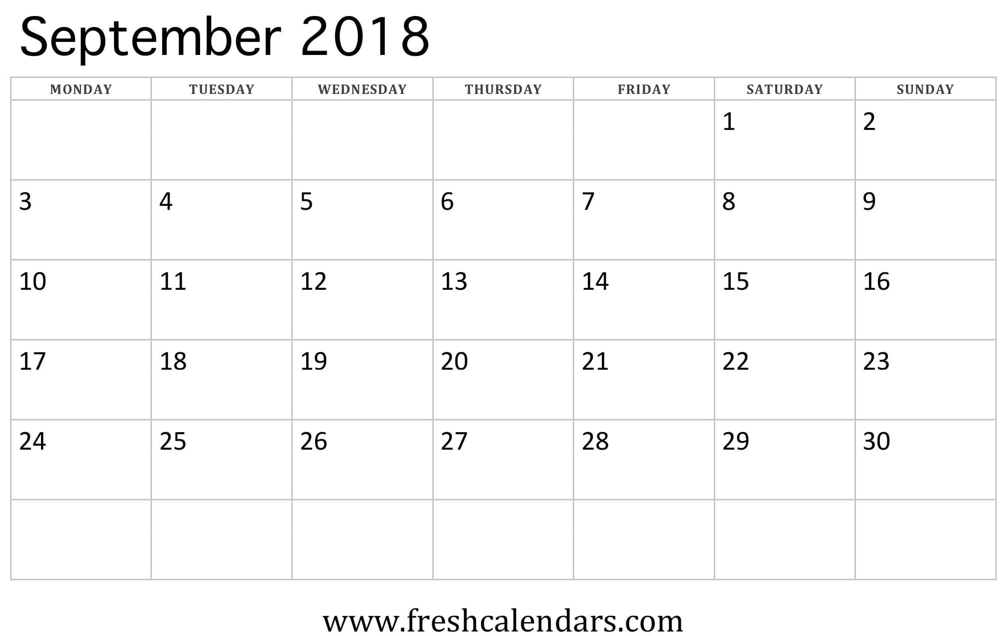 September 2018 Calendar Printable - Fresh Calendars