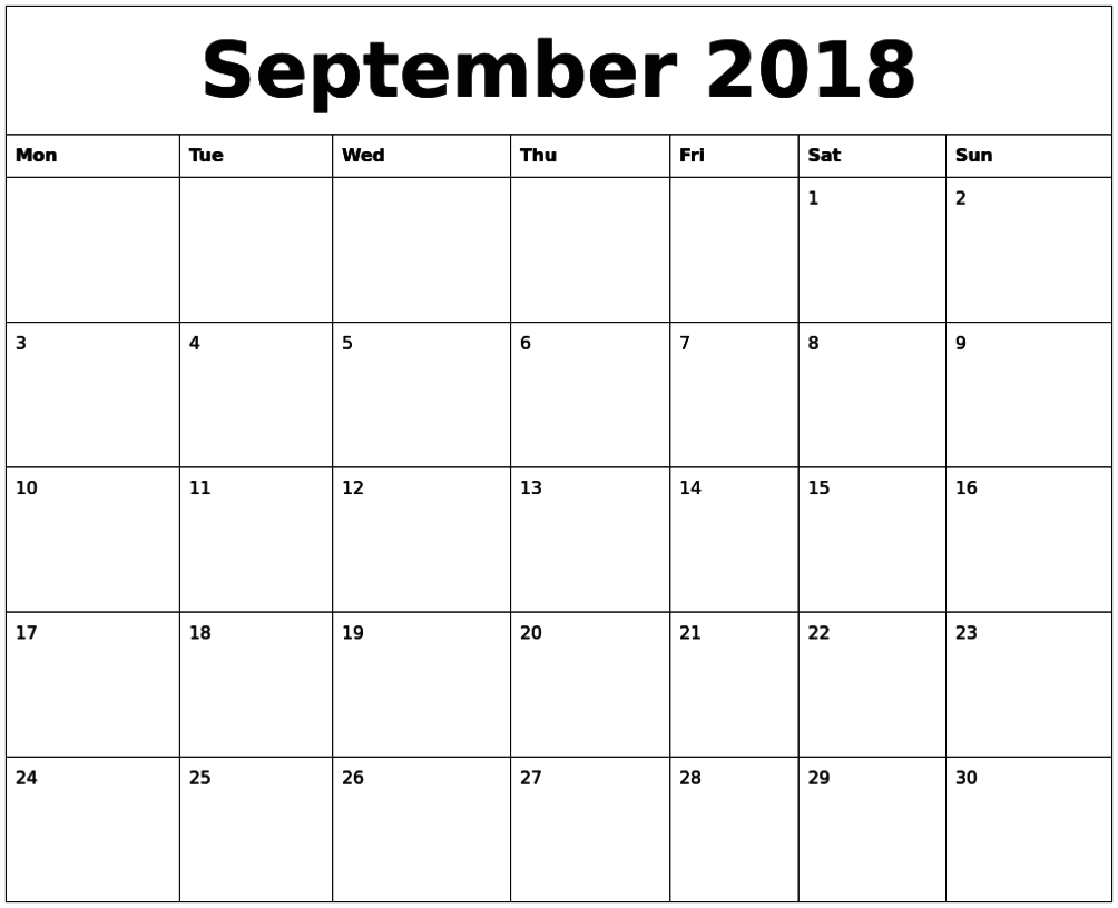 September 2018 Printable Editable Calendar Pdf | September