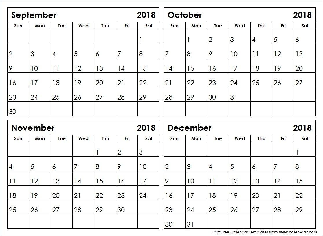 September 2018 Through December 2018 Calendar | Calendar