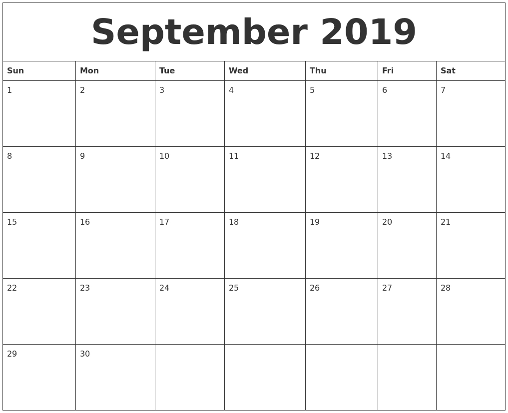 September 2019 Calendar, October 2019 Printable Calendar